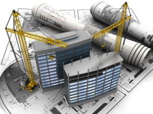 abstract 3d of building development concept